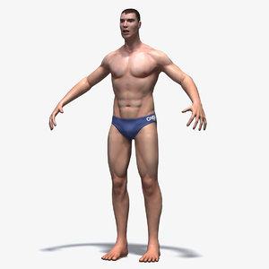 athletic swimmer 3d model