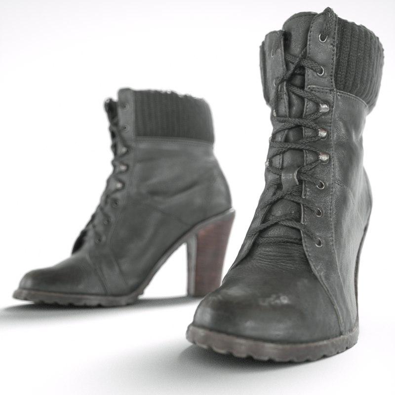 black heel boots obj