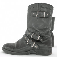 Skull Black Leather Boots