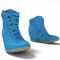 blue wedge boot 3d model