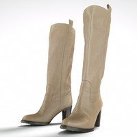 Leather Boots Beige