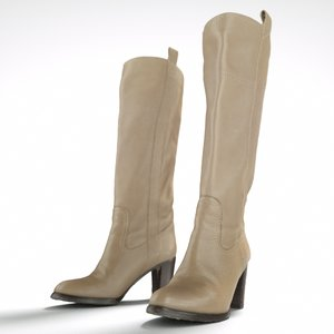 3d beige leather boots