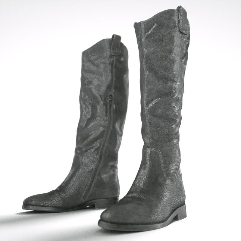 black snakeskin boots 3d obj
