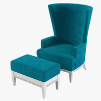 3d model tosato wing chair pouf