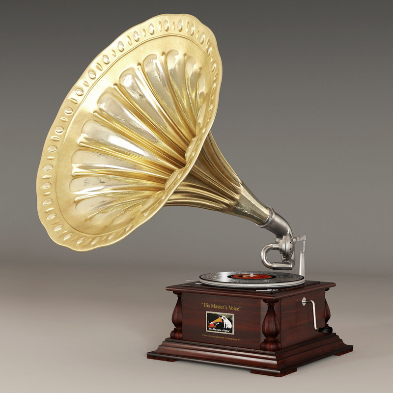 retro gramophone 3d max