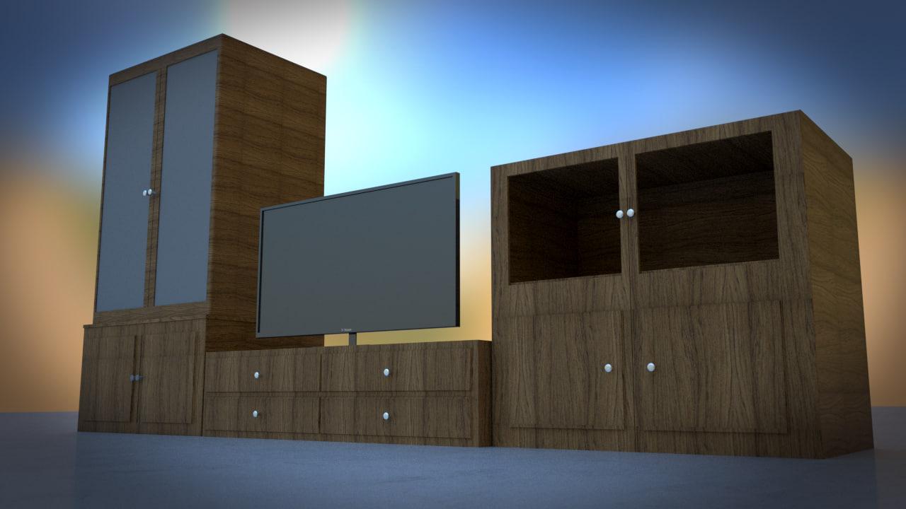 free tv set furniture wood 3d model