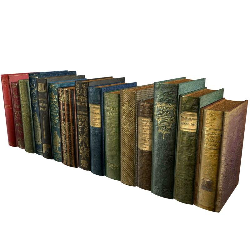 realistic books pack 1 3d model