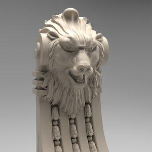 3d scroll volute lion model