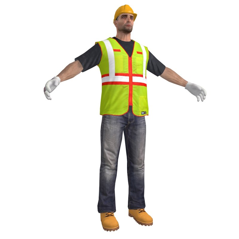 3d model construction character male