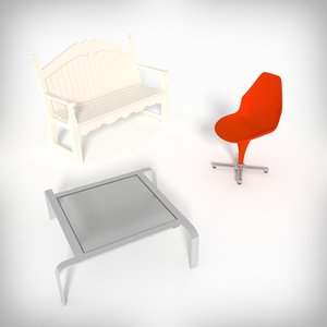 3d chair bench table model