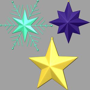stars christmas 3d fbx