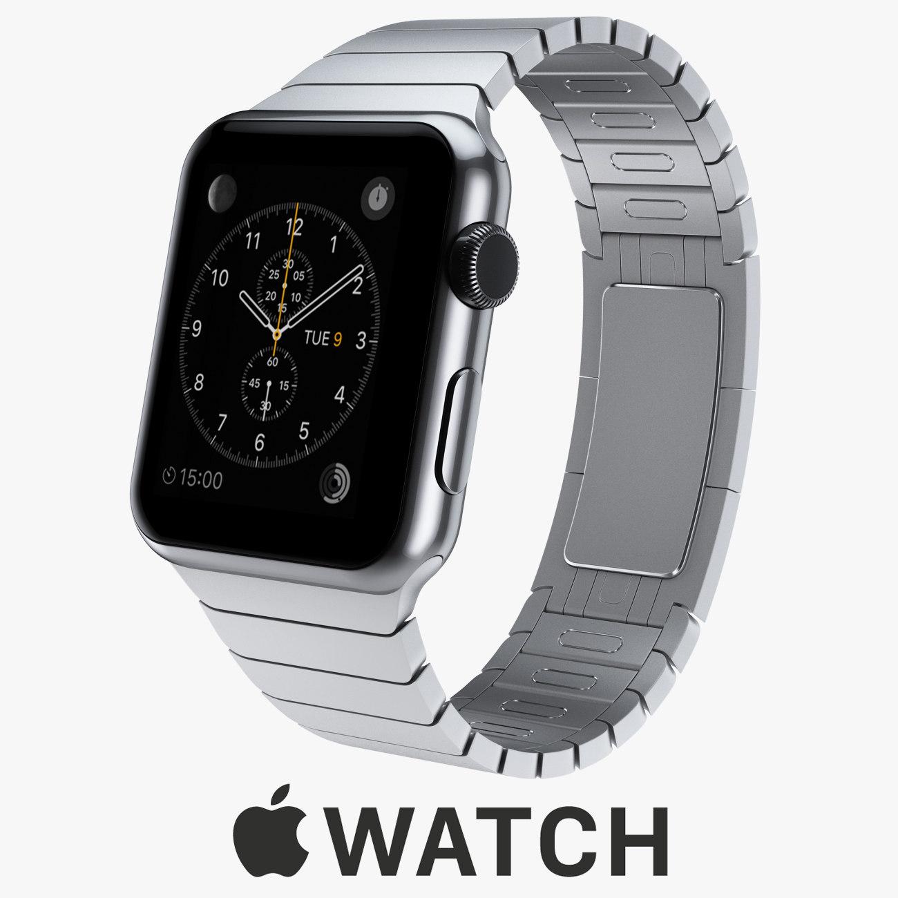 apple watch 42mm stainless steel 3d model