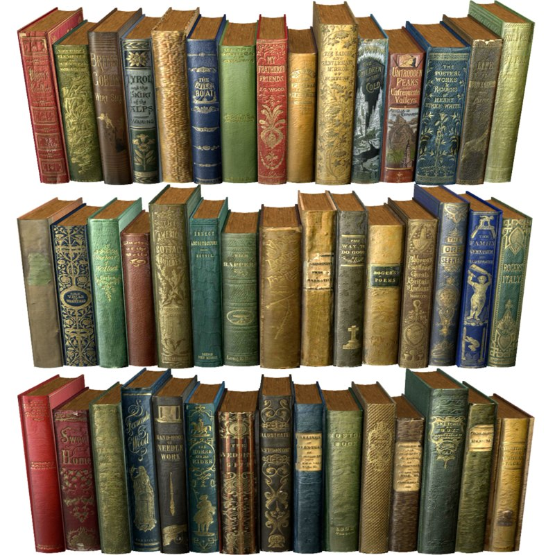realistic books old 3d 3ds