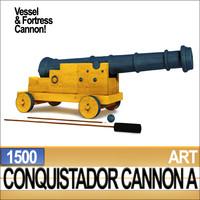 3d conquistador cannon 1500