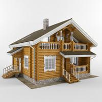 3d wooden house