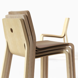 layer chair stackable plywood 3d model