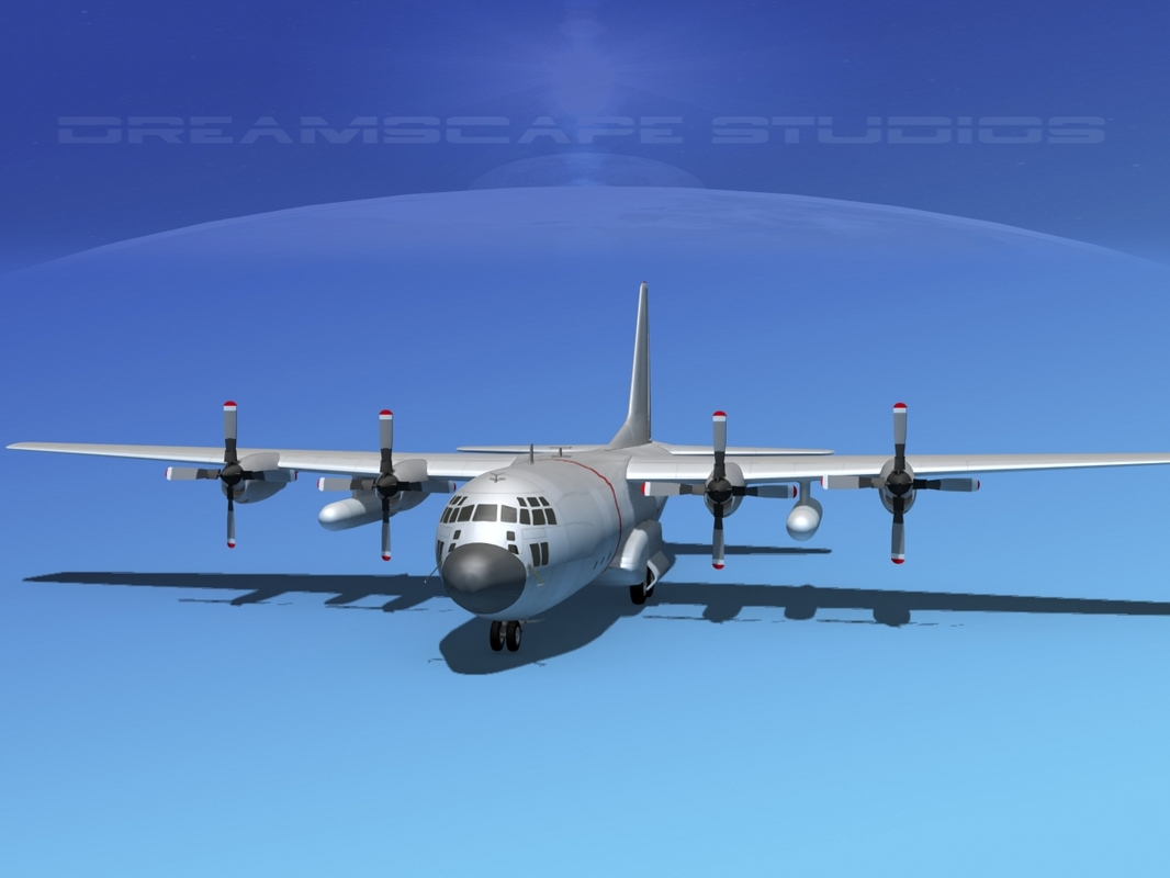 3d cargo lockheed c-130 hercules air model