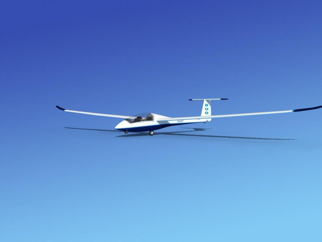 3d model discus duo sailplane plane