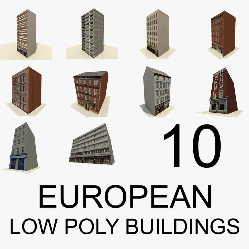 european buildings 10 3d model