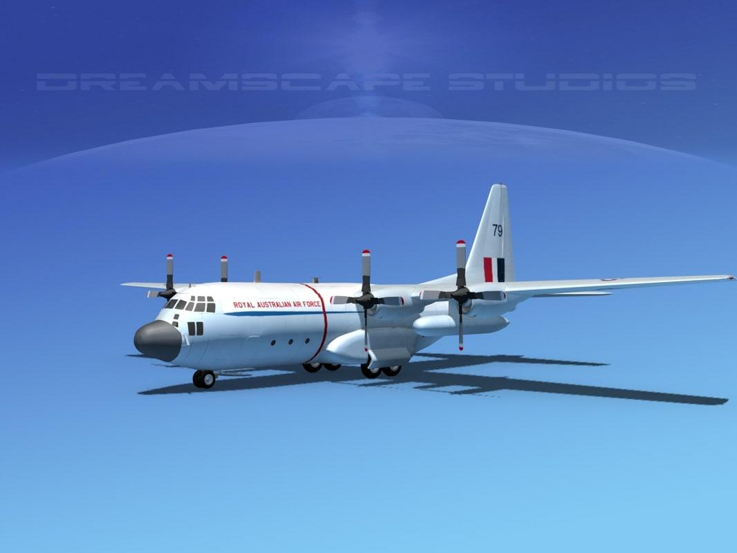 cargo lockheed c-130 hercules air 3d obj