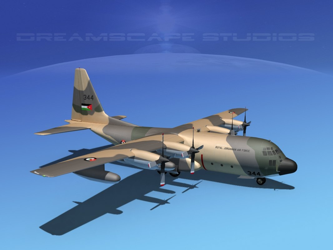 cargo lockheed c-130 hercules air 3d model