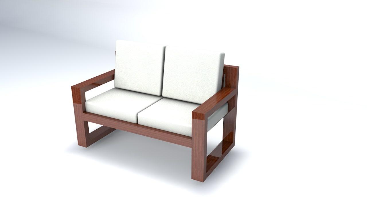 c4d wooden sofa