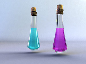 3d glass bottles model