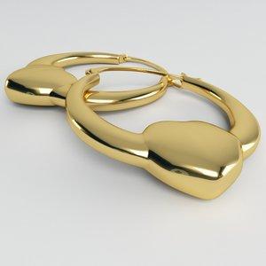 3d heart creole earrings