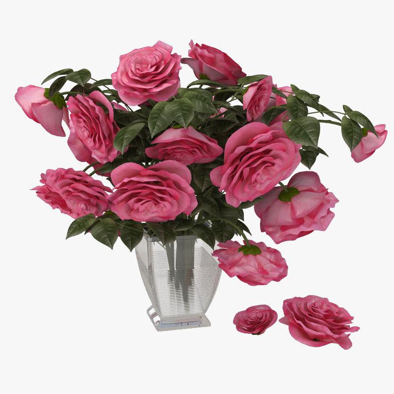 pink rose 3d obj