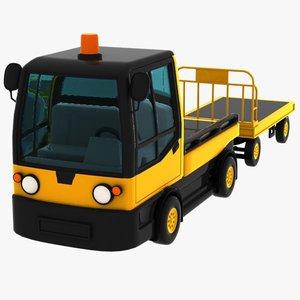 3d model cartoon baggage cart