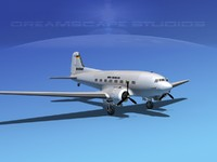 3d dc-3 douglas air model