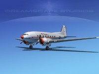 3d dc-3 airliners douglas model