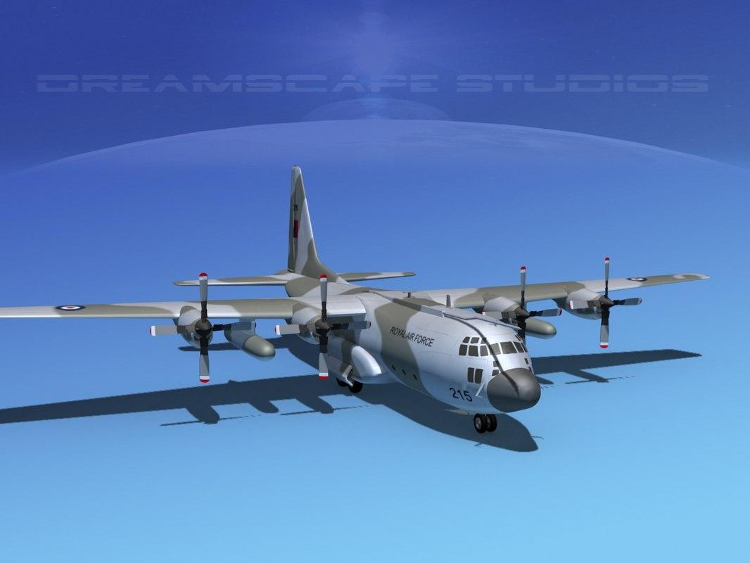 3d model cargo lockheed c-130 hercules air