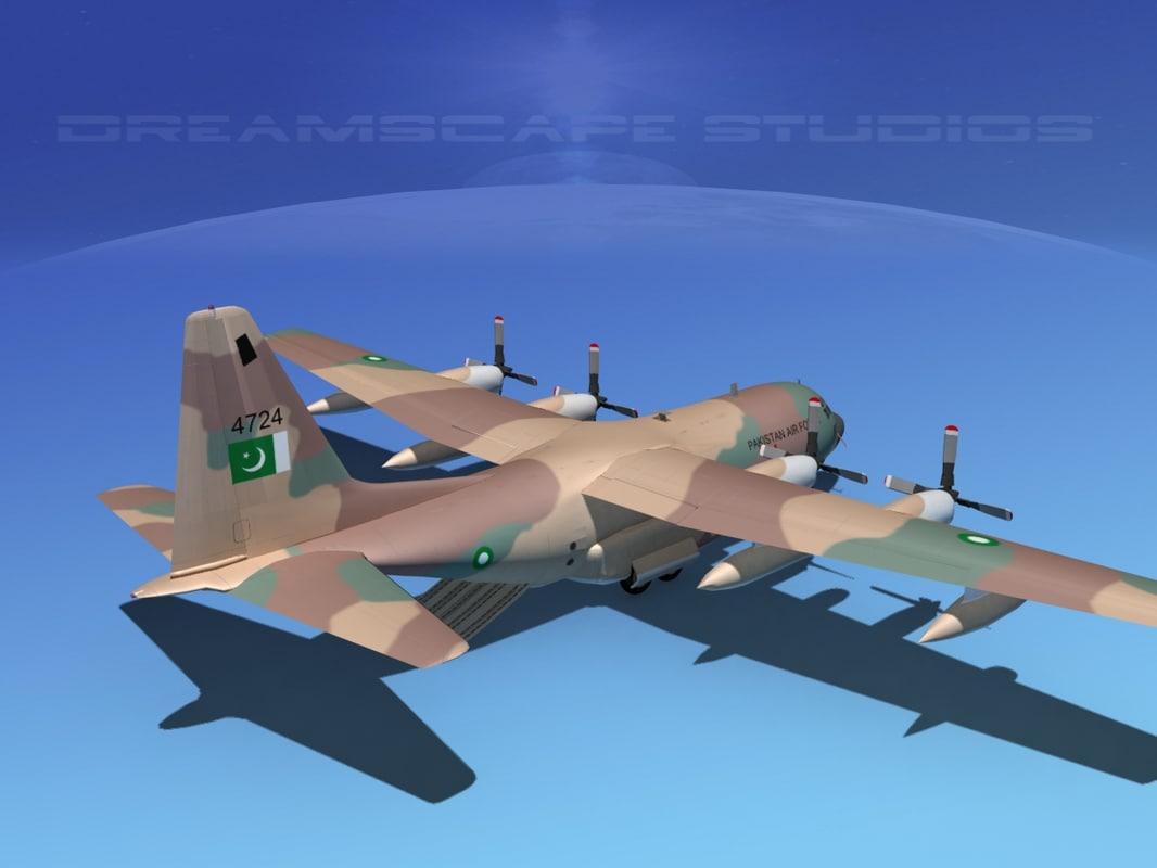 3d cargo lockheed c-130 hercules air model