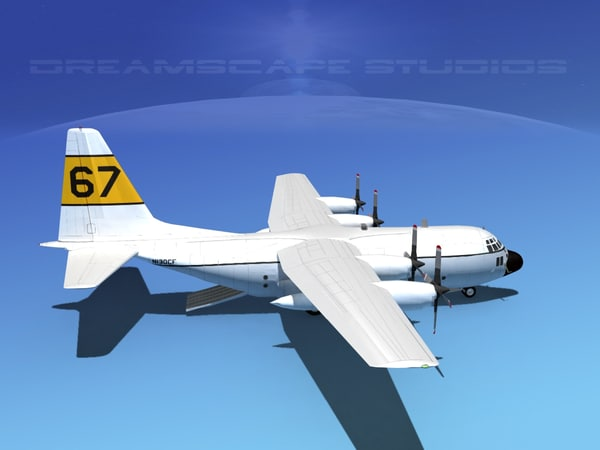3d cargo military transport lockheed c-130 model