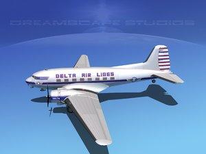 3d dc-3 airliners douglas