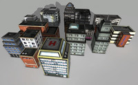 Grunge City Low Poly Buildings Pack 01