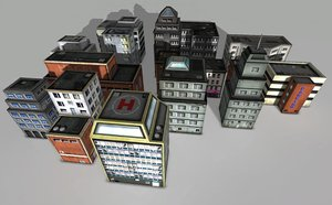 3d grunge city building pack model