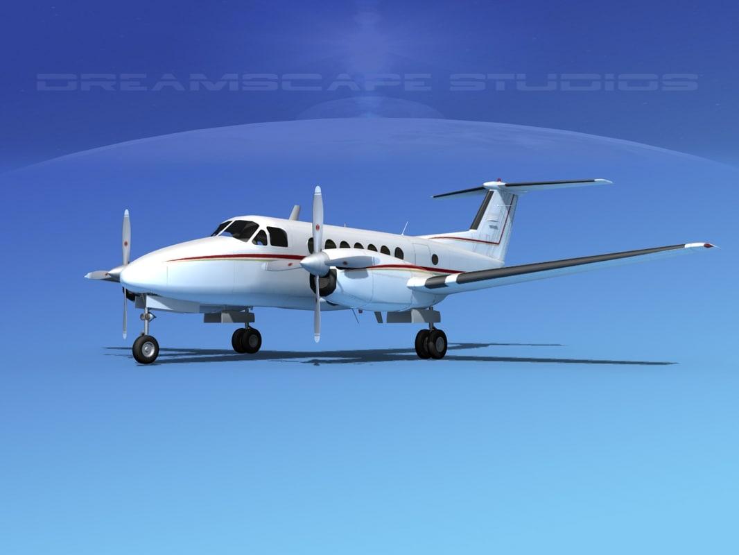 propellers beechcraft super king air 3d model