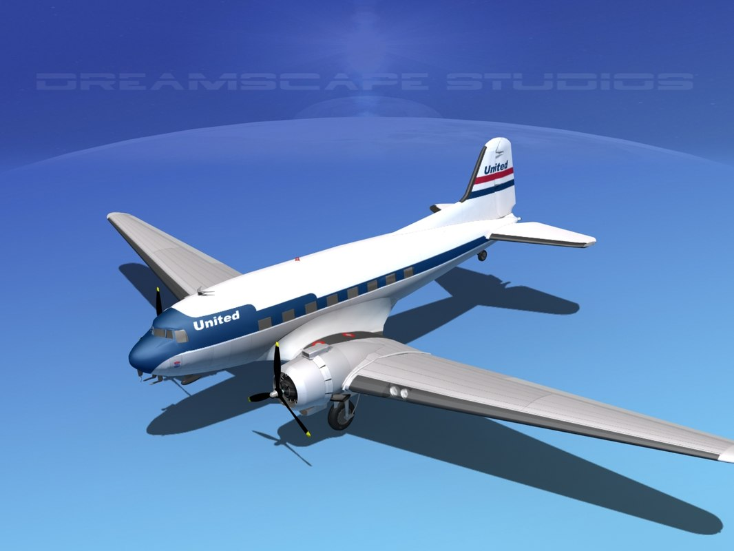 dc-3 airliners douglas 3ds