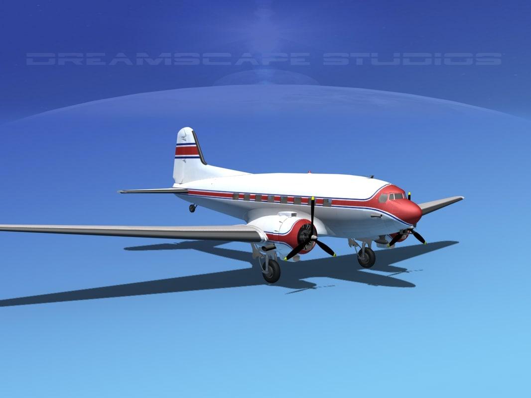 dc-3 propellers douglas 3d 3ds