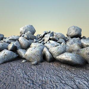 3d model rocks debris 1