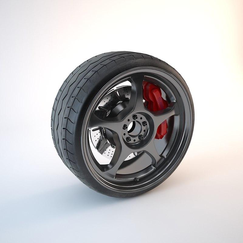 3d obj car wheel