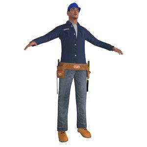 worker man 3d obj
