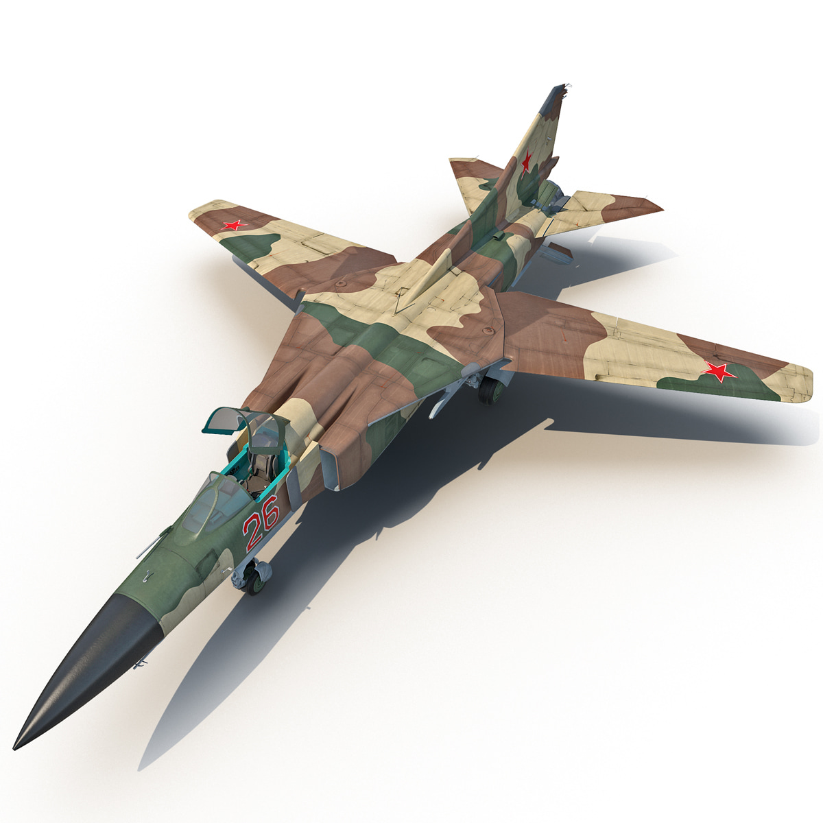 3d model fighter aircraft mig-23 rigged
