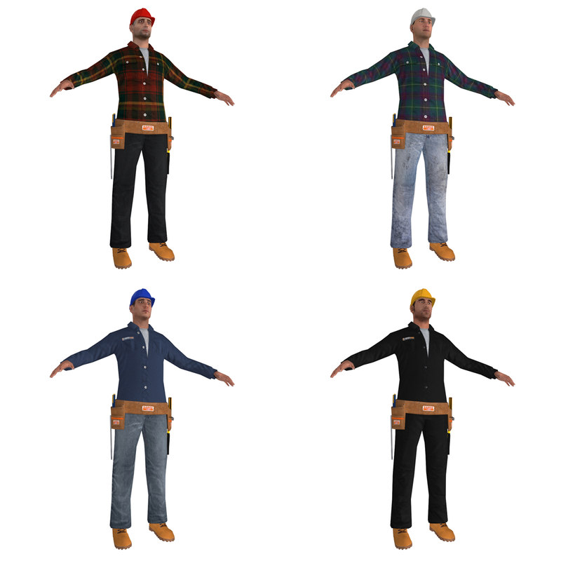 3d max workers man