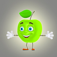 cartoon apple 3d model