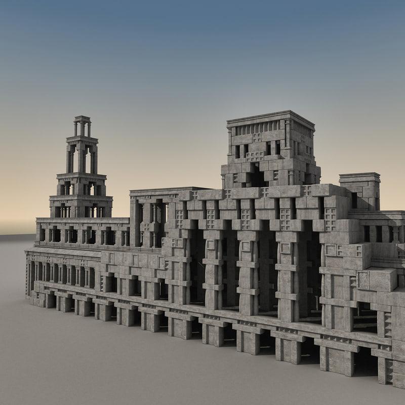 3d model of ancient fantasy building