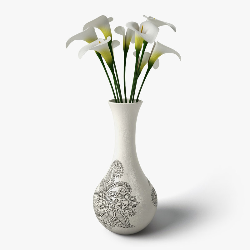 3ds max calla flower design vase