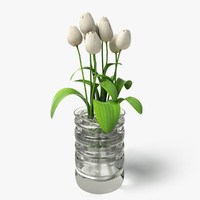 white tulips glass vase 3d dxf